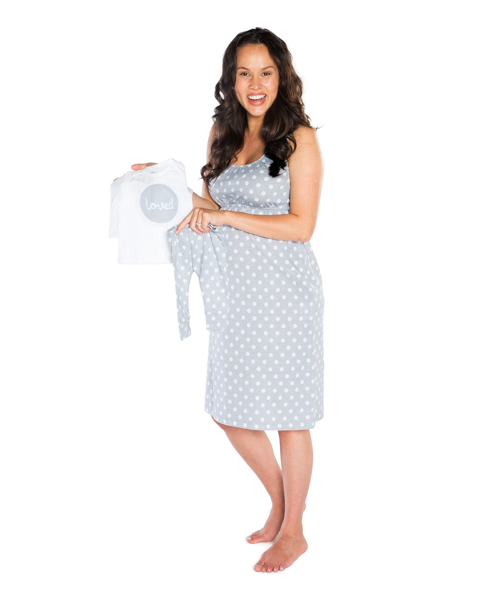 1a00e913b6bb8 Lisa Maternity/Nursing Nightgown & Matching Baby 'Loved' Pant Set ...