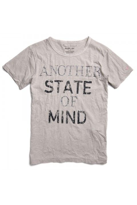 Cotton jersey T-shirt with print on front light grey | Tshirt | Man | SS13 | Replay | REPLAY Online Shop