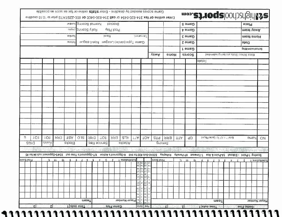 Volleyball Statistics Sheet Template Lovely Volleyball