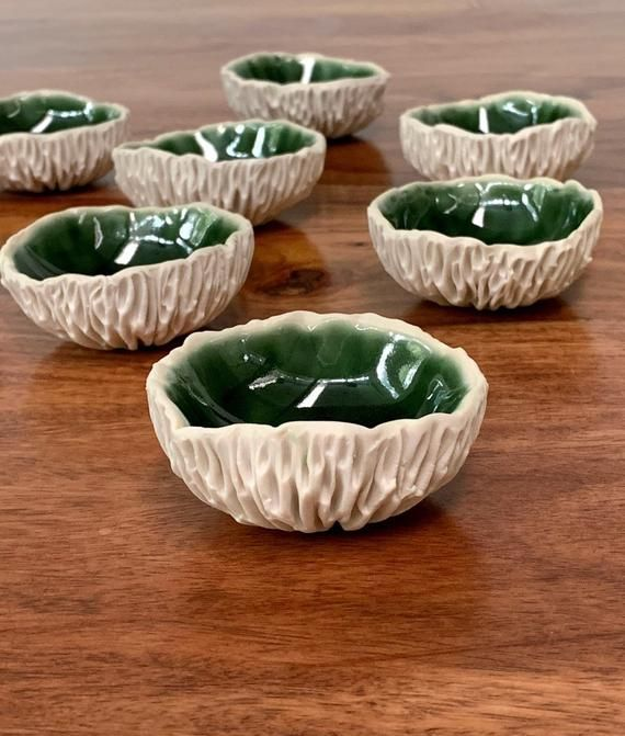 Tiny Green Geode Bowl - Green and White Ceramic Bowl, Ring Dish, Salt Dish, Small Porcelain Dish