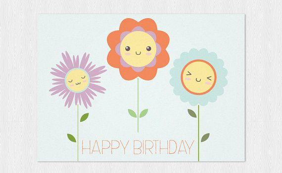 PDF DIY Stampabile  Buon Compleanno con fiori kawaii di Cloudreams