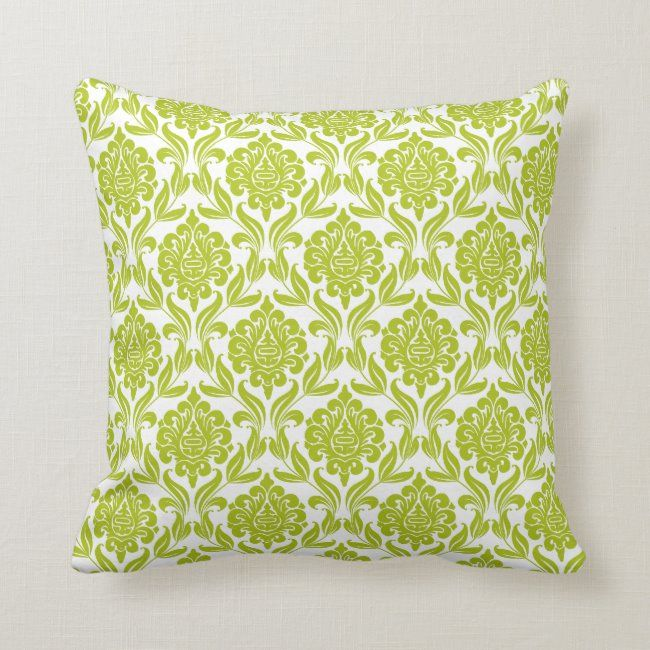 Green Damask Pattern Throw Pillow #pattern #simple #colorful #delicate #damask #ThrowPillow