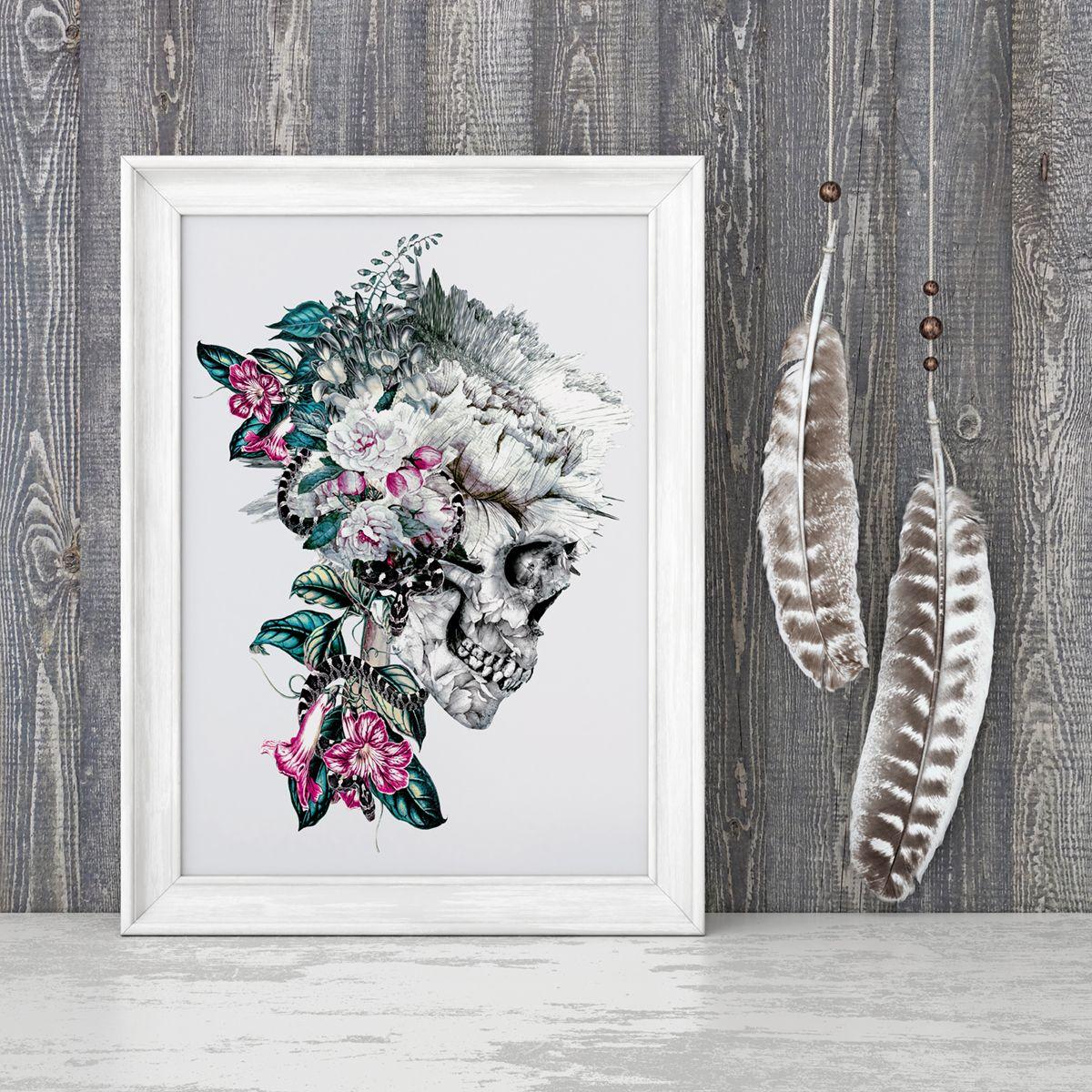Momento Mori Rev V FRAMED ART PRINT via Society6 #skull #art #homedecor #interiordesign