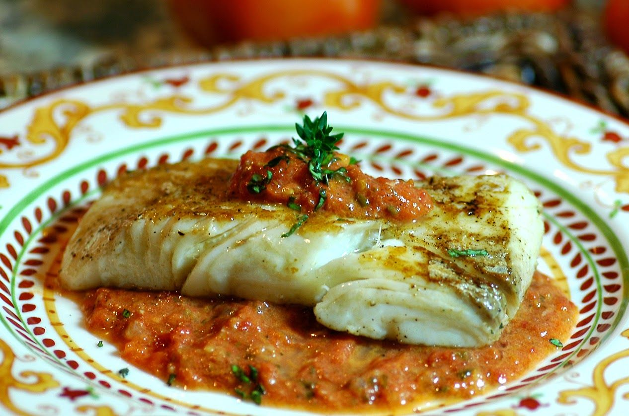 seared halibut with garden tomatocaper sauce  recipes halibut clean eating