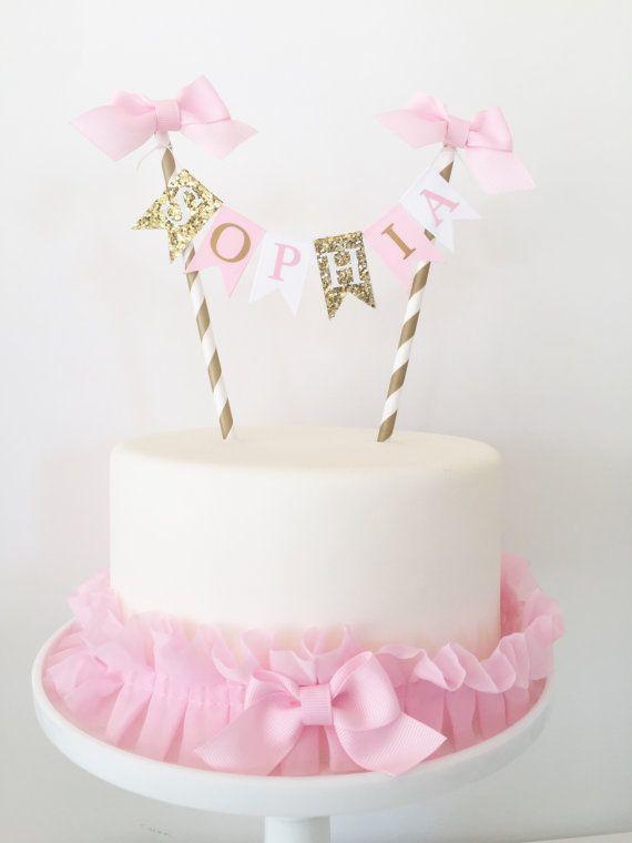 Rosa Und Gold Birthday Cake Topper Ammer Von TheBirthdayStudio 1st For Girls
