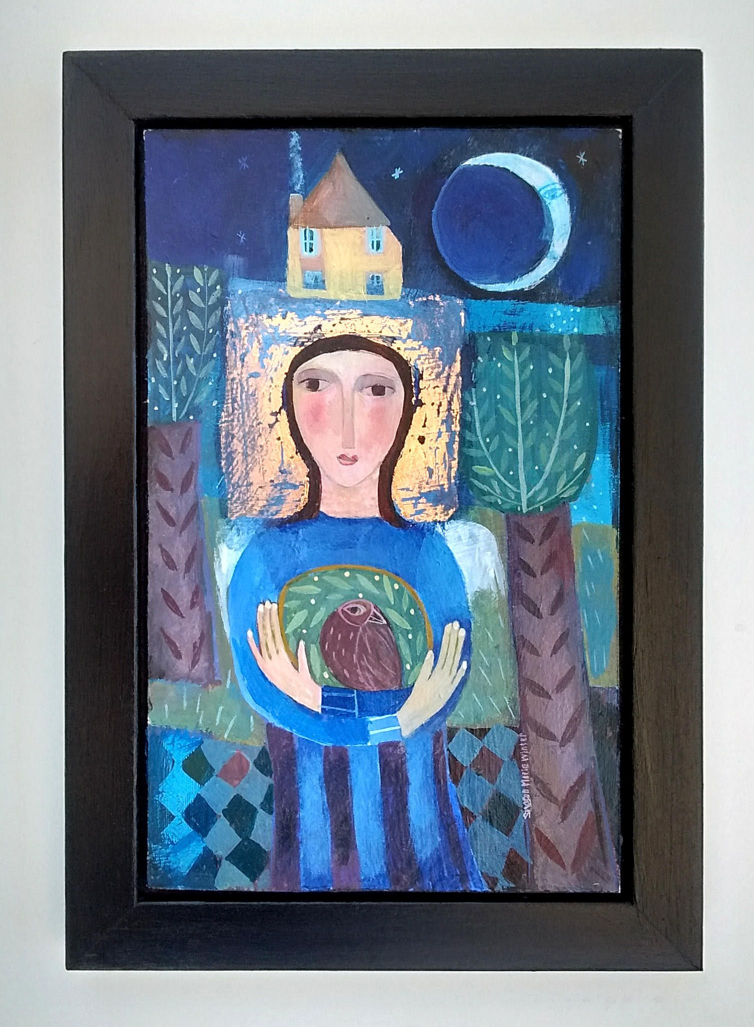 Bird Woman in the moonlight, original acrylic painting in wooden frame by SharonMarieWinter on Etsy