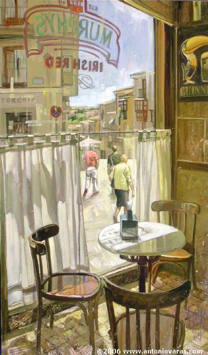 CAFÉ DE LA PLAZA (Zamora). A través de la ventana, vista de la calle Balborraz - Antonio Varas de la Rosa - Óleo, tabla 48x28 cm.