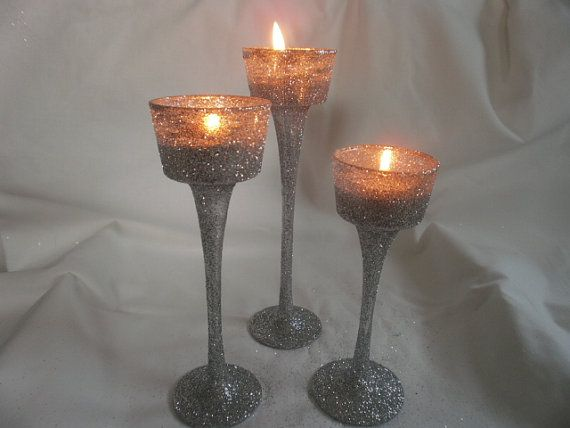 glitter long stem glass tealight candleholders by tiasdresses sangeet mehndhi decor. Black Bedroom Furniture Sets. Home Design Ideas