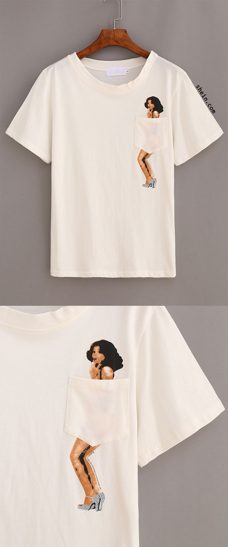 Young Lady Print Pocket T Shirt Diy Clothes Clothes Shirts