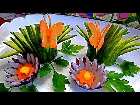 Украшения из огурца. Карвинг огурца. Decoration Of Cucumber - YouTube - TUTORIAL