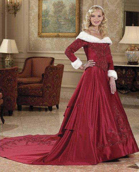 Elegant winter wedding dress with fur from www.27dress.com | winter ...