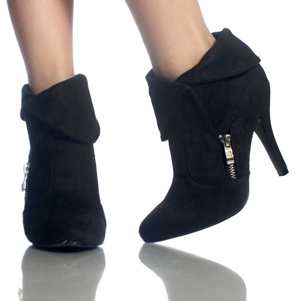 Black Ankle Boots Fold Over Booties Faux Suede Cute Womens High