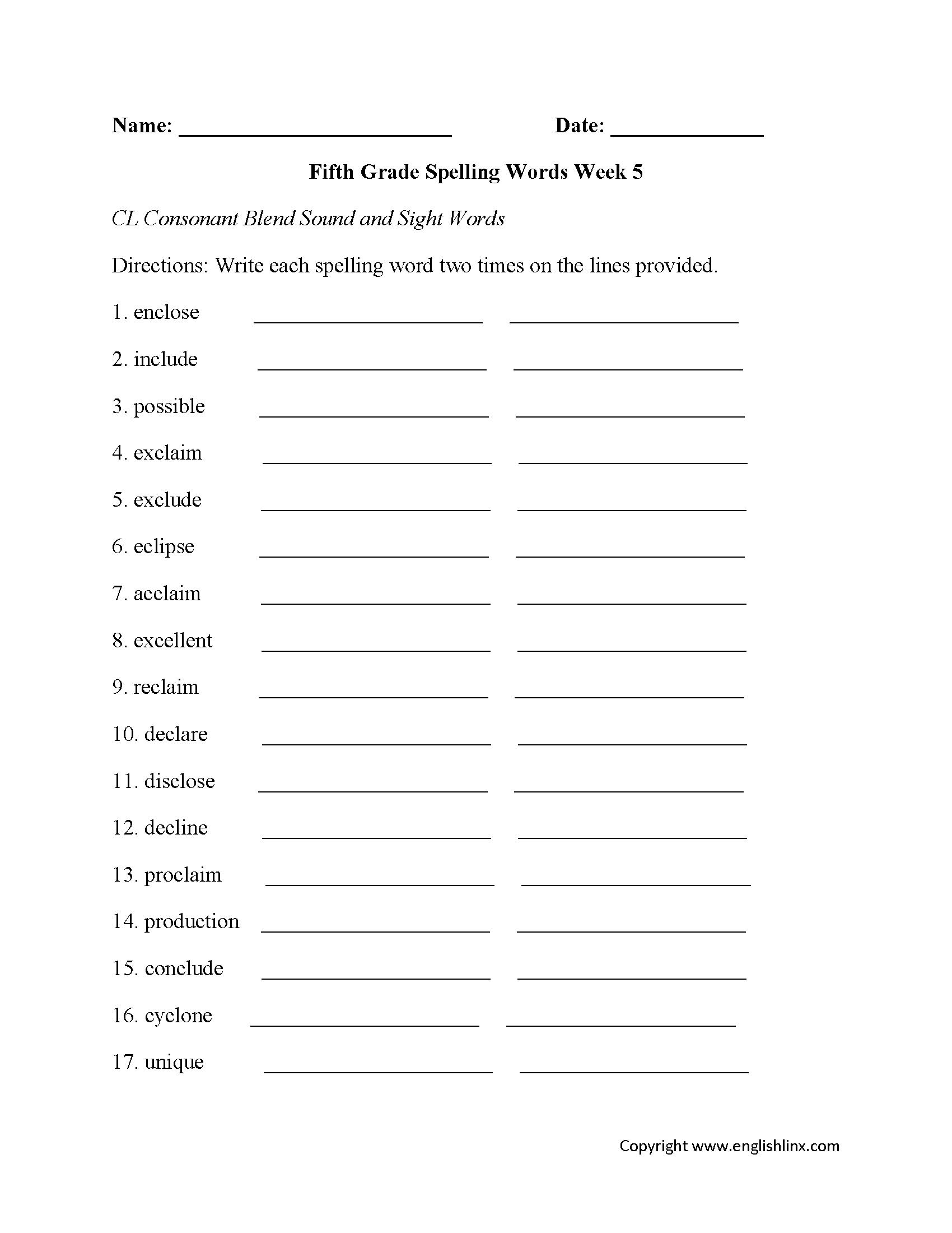 worksheet Make Your Own Spelling Worksheets week 5 cl consonant fifth grade spelling worksheets lessons worksheets