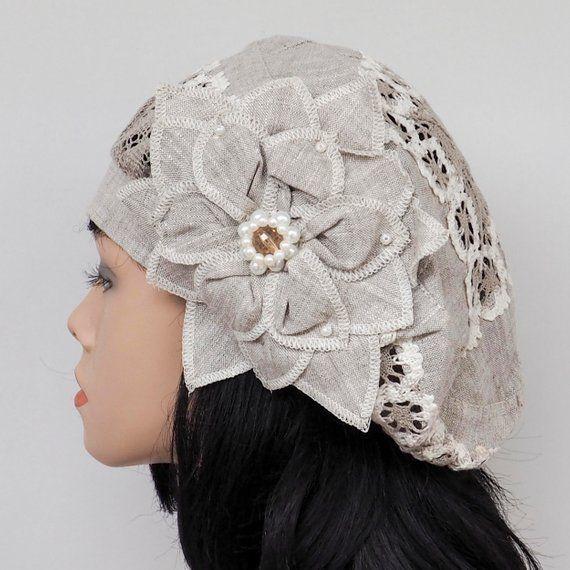 Womens summer hats womens beach hat for women sun hat linen beret with flower su  Hutmodelle