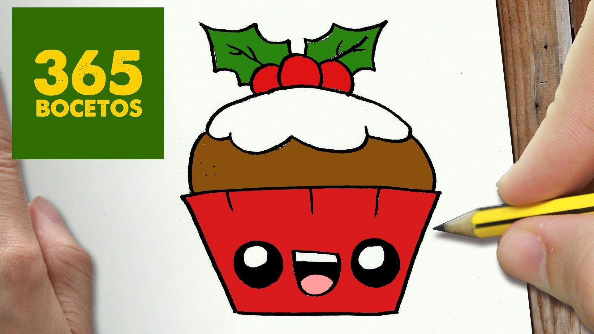 como dibujar un cupcake para navidad paso a paso dibujos