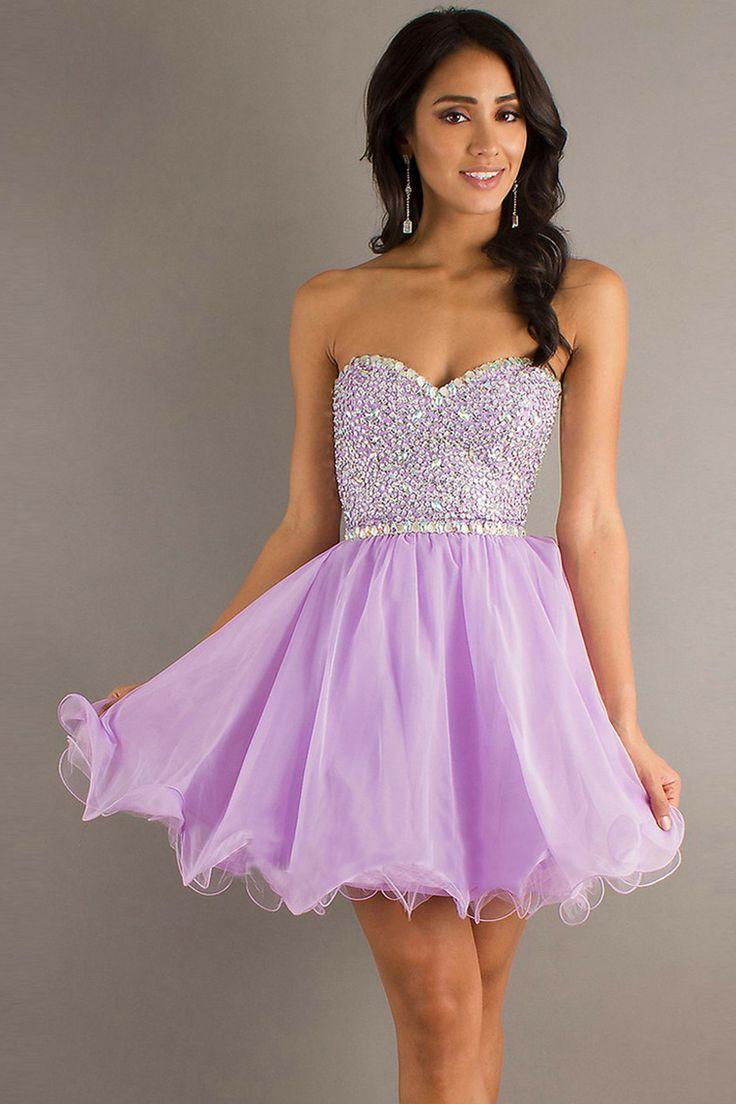 My favorite dress Strapless cute short neon purple prom dress