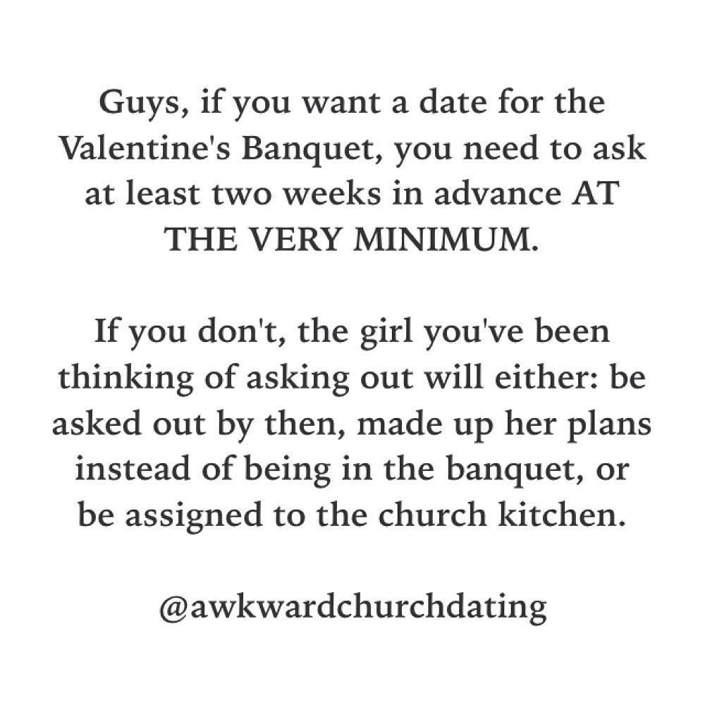 @awkwardchurchdating is back from its hiatus in time for #ValentinesBanquet preparation. Go over there and comment which things to cover. -@gmx0 #BaptistMemes #AwkwardChurchDating