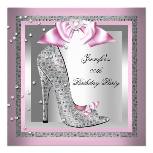 Pink Silver Gray High Heel Shoe Birthday Party Invitation