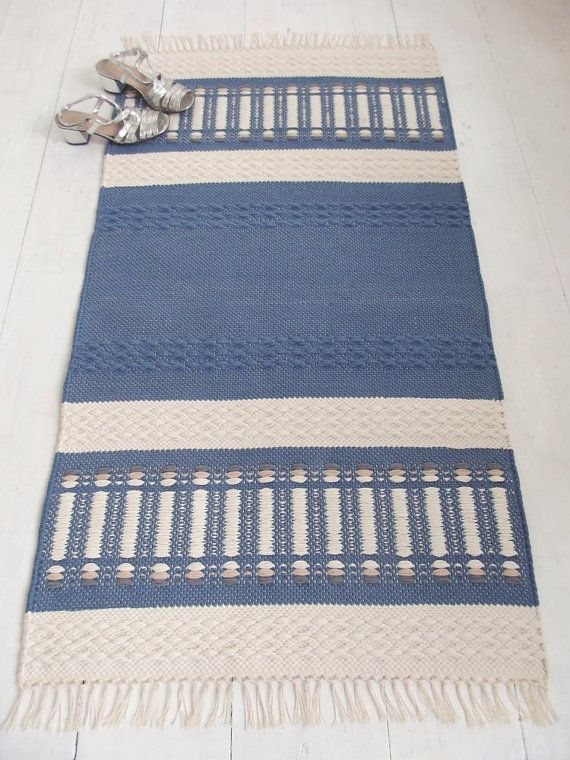 Blue And Off White Rug Small Cotton Reversible By Leedas