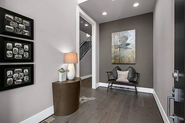 Greater Seattle Area The Taipei Entry Shared From Houzz The Accent Wall Is Clo Grey Accent Wall Accent Walls In Living Room Farmhouse Paint Colors Interior