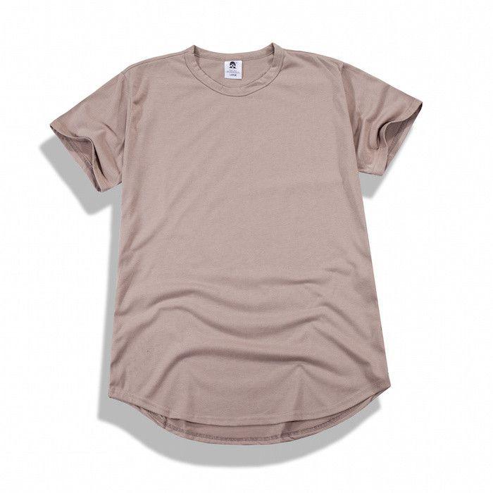 Men's t shirt fitness plain elongated curved hem tee