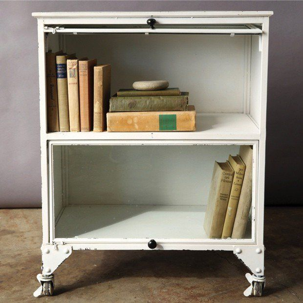Delightful White Metal Barrister Bookcase On Caster