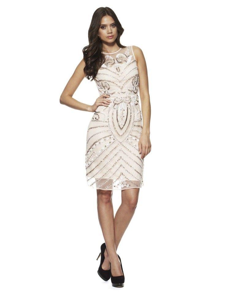 Lace And Beads Devon Mesh Sweetheart Midi Dress