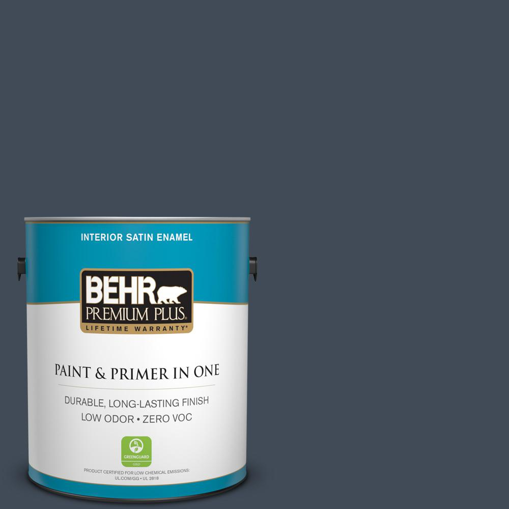 BEHR Premium Plus 1-gal. #ppf-58 Dark Night Zero VOC Satin Enamel Interior Paint, Ppf-58 Dark Night Satin
