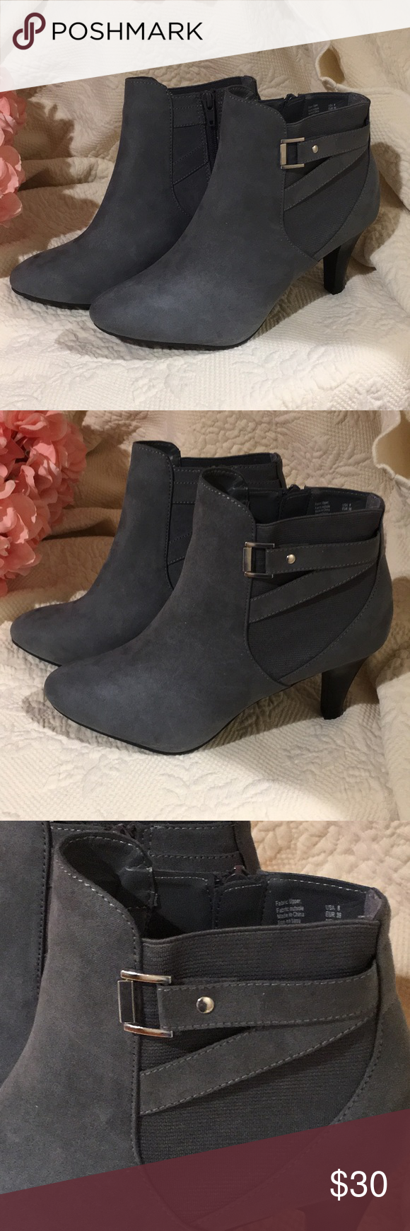 NWT Dexflex Comfort Gray Ankle Boots