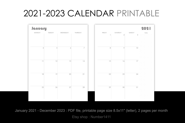 Monthly Calendar 2022 2023.Printable Calendar 2021 2022 2023 Monthly Planner For 36 Etsy Printable Calendar Calendar Printables Calendar