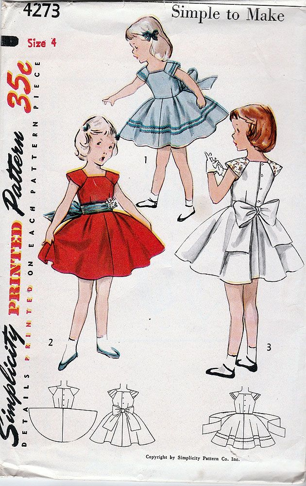 Simplicity 4273; ©1953; Simple To Make Child\'s One-Piece Dress ...