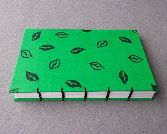 Handmade Notebook Green Journal Coptic Stitch Journal Blank