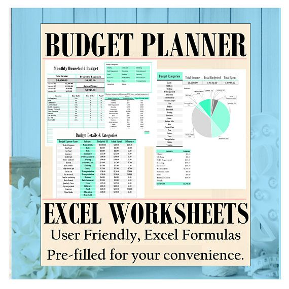Budget Planner expense tracker excel spreadsheet financial Life - budgeting in excel spreadsheet