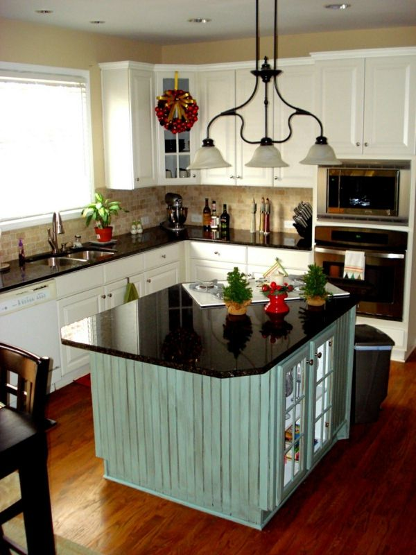 küche mit kochinsel in hellgrün und küchenschränke in weiß | küche ... - Küche Hellgrün