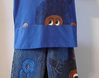 Handpainted Boys Afro Denim Jeans and Tee - Size 8 Slim