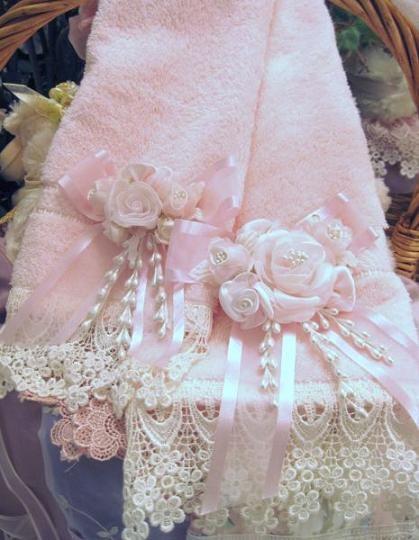 Pink Roses Embellished Towels