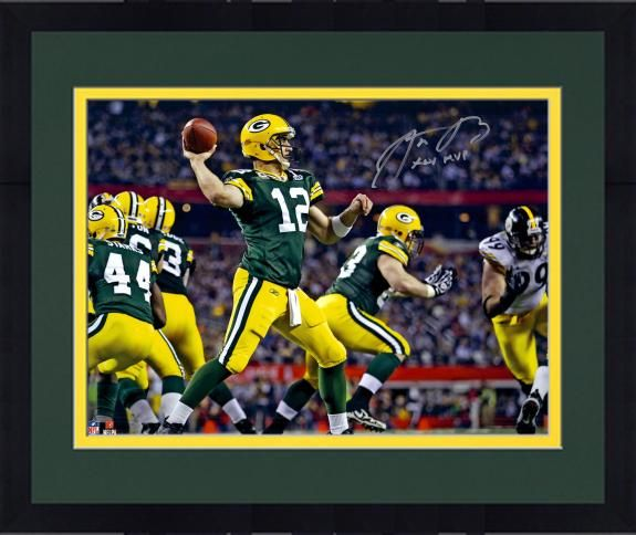 Framed Aaron Rodgers Green Bay Packers Autographed 16