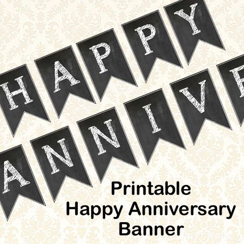 happy anniversary banner diy printable chalkboard anniversary party