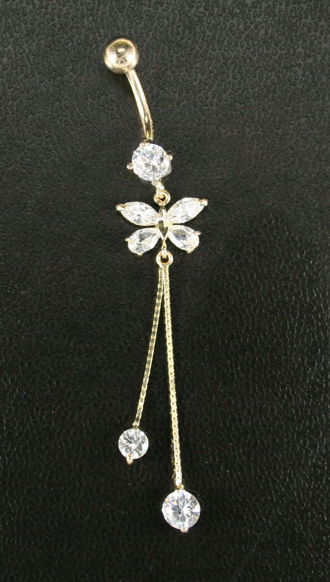 14K. Gold Butterfly Navel Ring Available in Yellow & White ...
