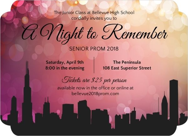 City scape prom night invitations dsa advertising pinterest city scape prom night invitations stopboris Choice Image