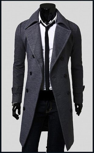 US Stock Fashion Men/'s Pink Peacoat Long Jackets Woolen Overcoat Lapel Long Coat