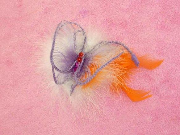 蝶々のヘアエクステ ヘアアクセサリー Purple ヘアアクセサリー