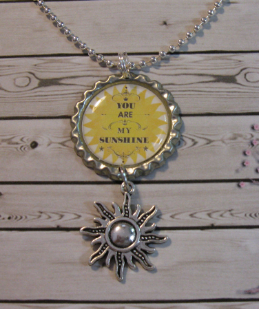Handmade You Are My Sunshine Bottle Cap Charm Necklace - Necklaces & Pendants