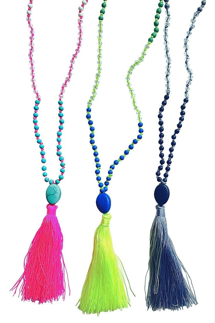 The most stunning tassel necklace you'll find, these long sparkling necklaces are embellished with a dyed turquoise stone and crystals.  Each is individually knotted between each bead and tassels are handmade.  Add the perfect combination of a little bit boho and a little bit gloss for a colorful, upbeat look.