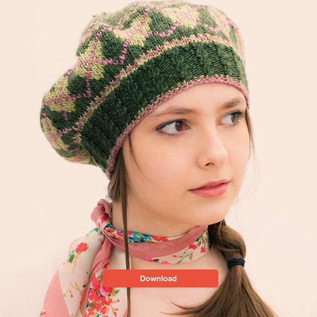 FREE Louisa Harding fair isle beret hat knitting pattern - get it at  LoveKnitting! 3359a59821f