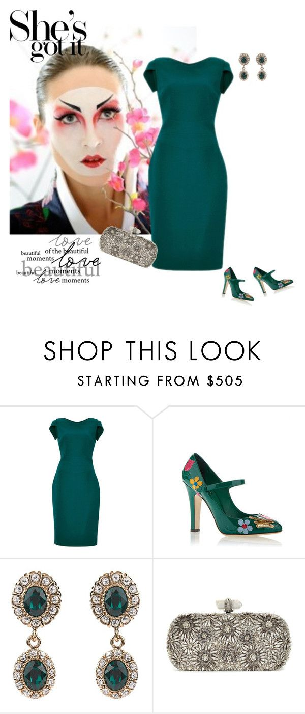 """Green Dress"" by xime-pena ❤ liked on Polyvore featuring Antonio Berardi, Dolce&Gabbana, Givenchy and Marchesa"