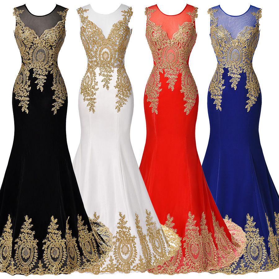 Fashion elegant black red gold lace mermaid evening dress party prom