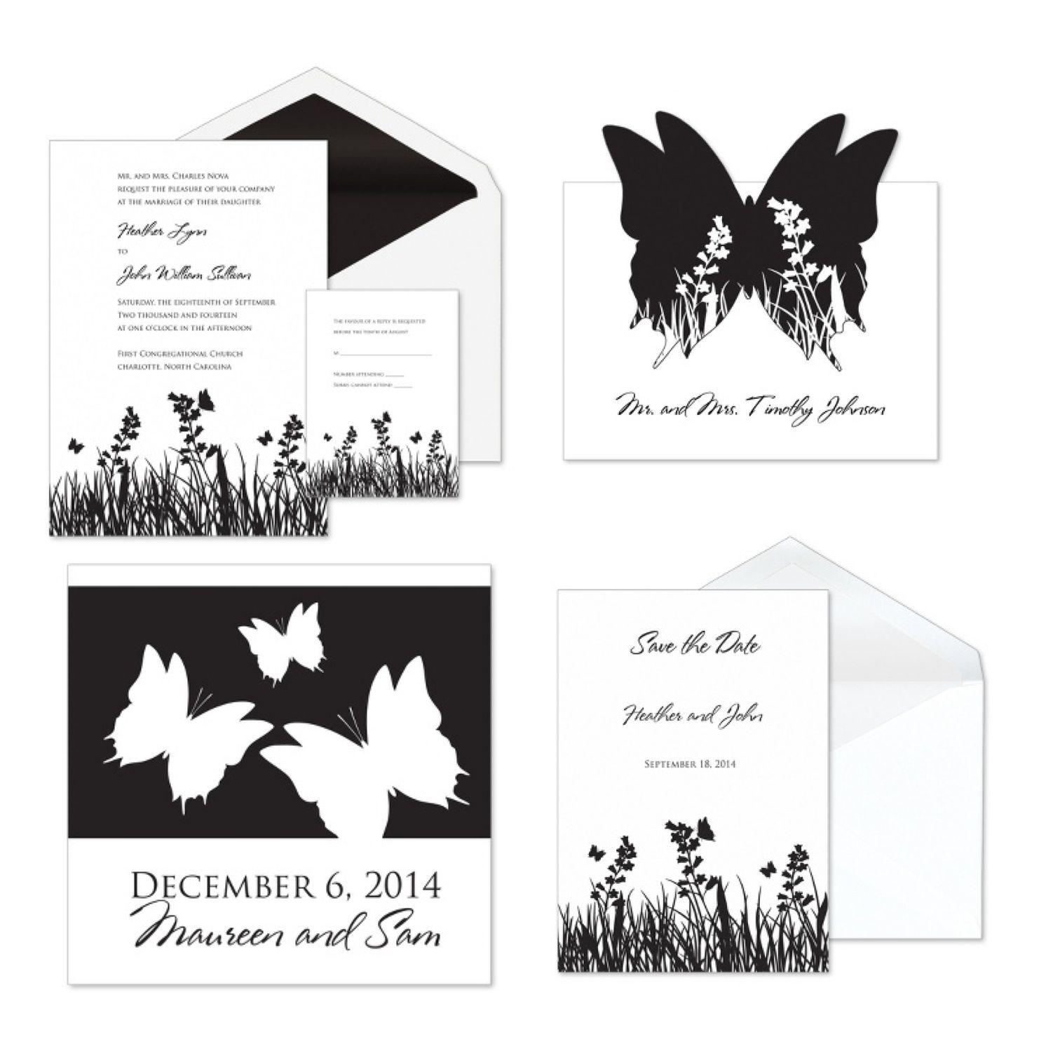 DIY Wedding Invitations Ideas...black & white butterfly themed invitations