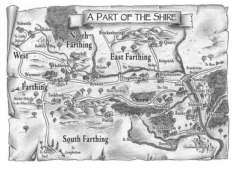 A Map of part of the Shire | tolkein | Tolkien books, Middle earth