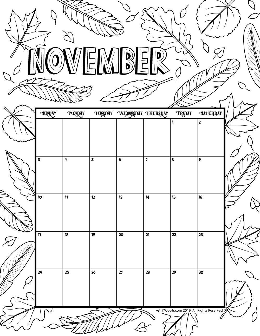November 2019 Coloring Calendar Naptar Calendar Kids Calendar